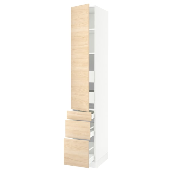 """SEKTION / MAXIMERA High cab w door/3 fronts/5 drawers, white/Askersund light ash effect, 15x24x90 """""""