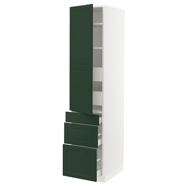 SEKTION / MAXIMERA High cab w door/3 fronts/5 drawers, white/Bodbyn dark green, 18x24x80 ""