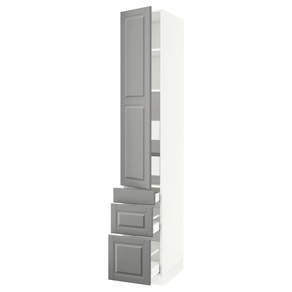 SEKTION / MAXIMERA High cab w door/3 fronts/5 drawers, white/Bodbyn gray, 15x24x90 ""