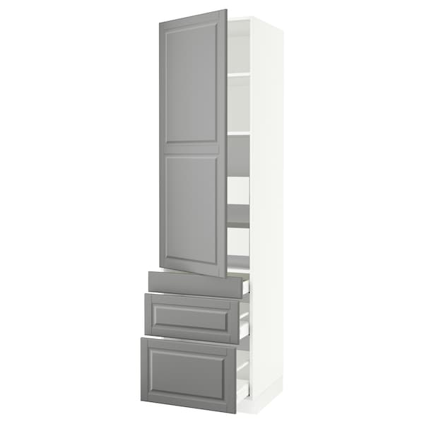 """SEKTION / MAXIMERA High cab w door/3 fronts/5 drawers, white/Bodbyn gray, 24x24x90 """""""