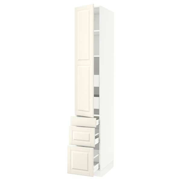 """SEKTION / MAXIMERA High cab w door/3 fronts/5 drawers, white/Bodbyn off-white, 15x24x90 """""""