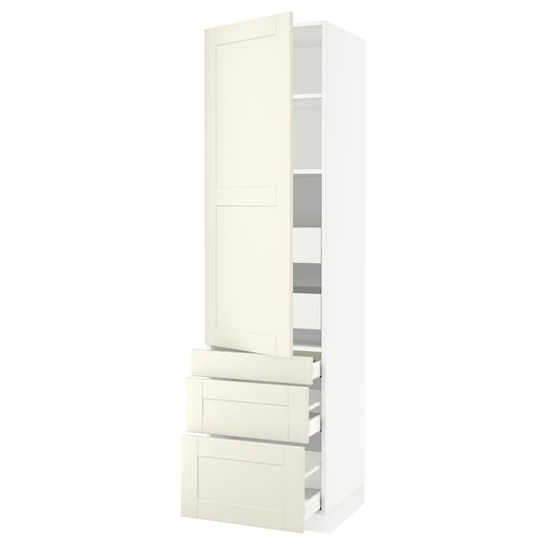 """SEKTION / MAXIMERA High cab w door/3 fronts/5 drawers, white/Grimslöv off-white, 24x24x90 """""""