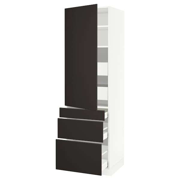 SEKTION / MAXIMERA High cab w door/3 fronts/5 drawers, white/Kungsbacka anthracite, 24x24x80 ""