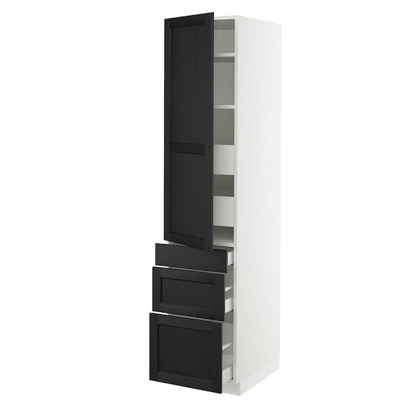 SEKTION / MAXIMERA High cab w door/3 fronts/5 drawers, white/Lerhyttan black stained, 18x24x80 ""