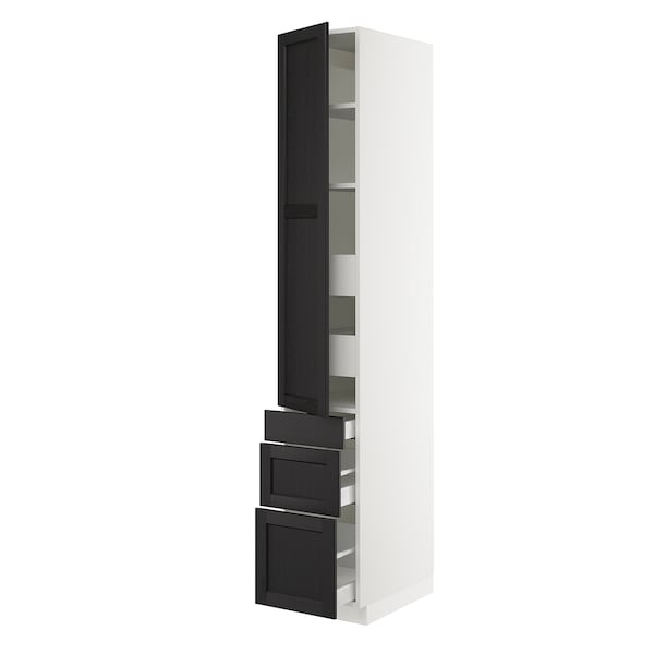 """SEKTION / MAXIMERA High cab w door/3 fronts/5 drawers, white/Lerhyttan black stained, 15x24x90 """""""