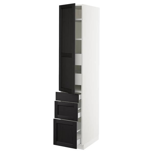 """SEKTION / MAXIMERA High cab w door/3 fronts/5 drawers, white/Lerhyttan black stained, 15x24x80 """""""