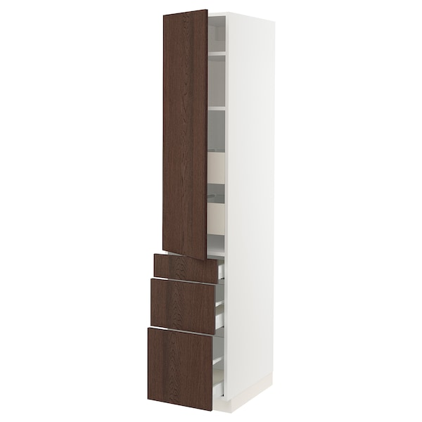 """SEKTION / MAXIMERA High cab w door/3 fronts/5 drawers, white/Sinarp brown, 15x24x80 """""""