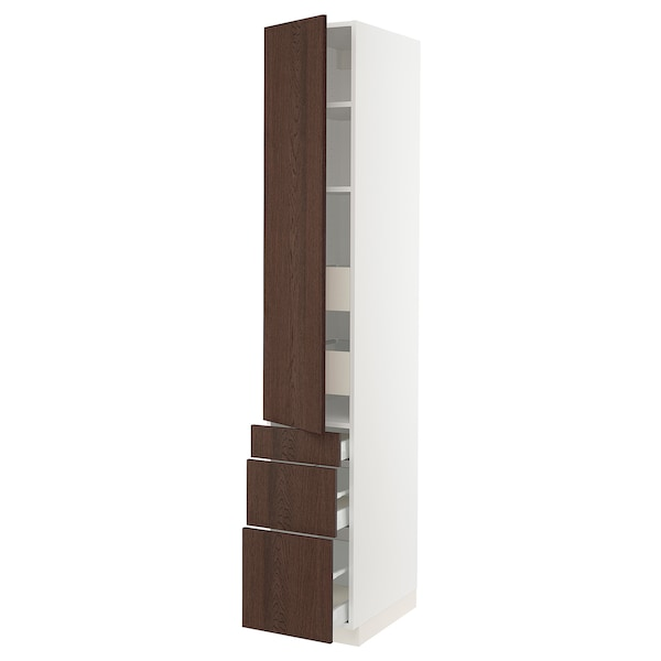 """SEKTION / MAXIMERA High cab w door/3 fronts/5 drawers, white/Sinarp brown, 15x24x90 """""""