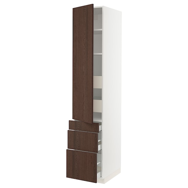 SEKTION / MAXIMERA High cab w door/3 fronts/5 drawers, white/Sinarp brown, 18x24x90 ""