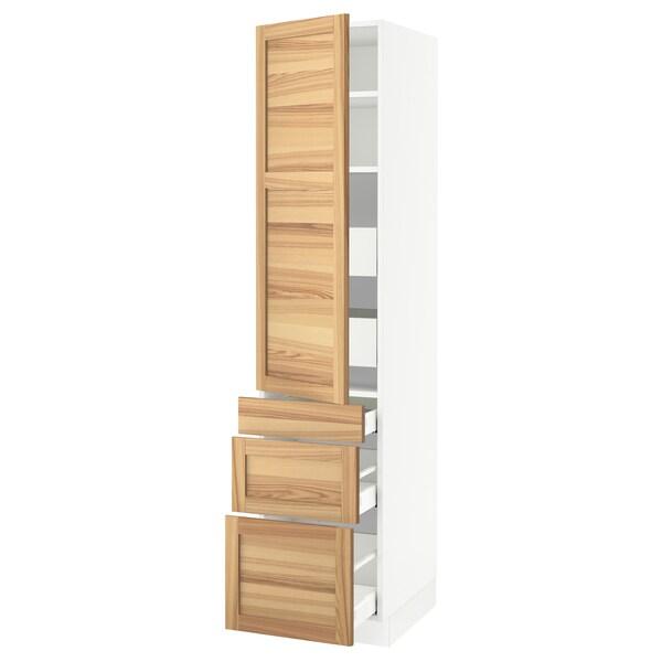 "SEKTION / MAXIMERA High cab w door/3 fronts/5 drawers, white/Torhamn ash, 18x24x80 """