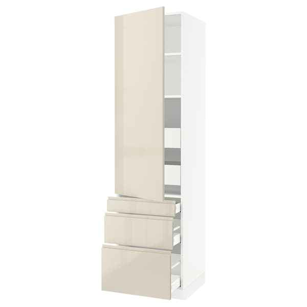 """SEKTION / MAXIMERA High cab w door/3 fronts/5 drawers, white/Voxtorp high-gloss light beige, 24x24x90 """""""