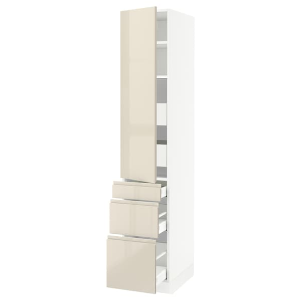 """SEKTION / MAXIMERA High cab w door/3 fronts/5 drawers, white/Voxtorp high-gloss light beige, 15x24x80 """""""