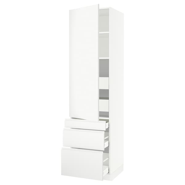 SEKTION / MAXIMERA High cab w door/3 fronts/5 drawers, white/Voxtorp matt white, 24x24x90 ""