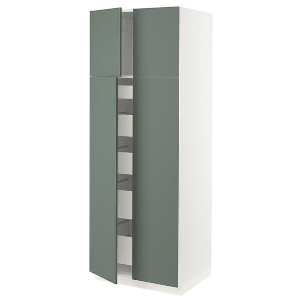 "SEKTION / MAXIMERA High cabinet w 4 doors/5 drawers, white/Bodarp gray-green, 30x24x80 """