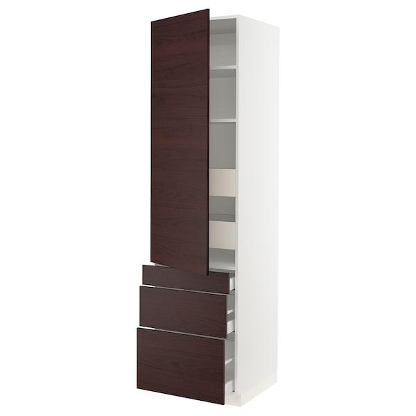 """SEKTION / MAXIMERA High cabinet w/door & 5 drawers, white Askersund/dark brown ash effect, 24x24x90 """""""