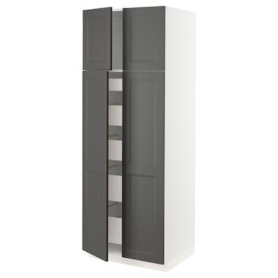 "SEKTION / MAXIMERA High cabinet with 4 doors/5 drawers, white/Axstad dark gray, 30x24x80 """