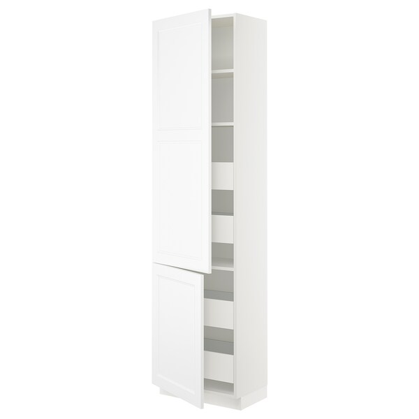 SEKTION / MAXIMERA High cb w 2 doors/shelves/4 drawers, white/Axstad matt white, 24x15x90 ""