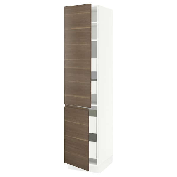 SEKTION / MAXIMERA High cb w 2 doors/shelves/4 drawers, white/Voxtorp walnut effect, 18x24x80 ""