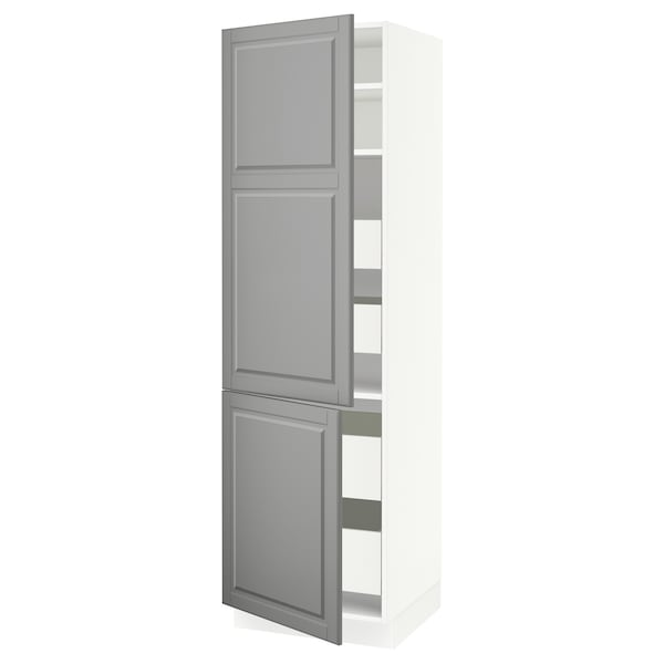 "SEKTION / MAXIMERA high cb w 2 doors/shelves/4 drawers white/Bodbyn gray 24 "" 24 "" 24 3/4 "" 80 """
