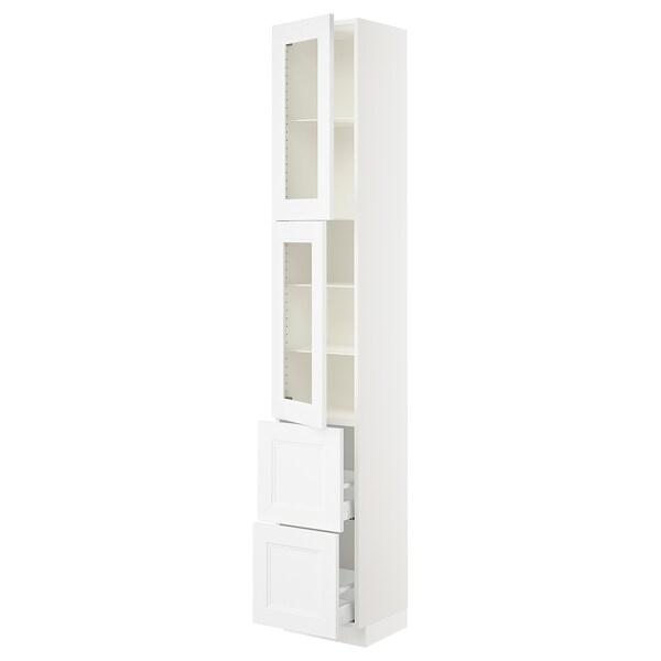 "SEKTION / MAXIMERA High cb w 2 glass drs/2 drawers, white/Axstad matt white, 15x15x90 """