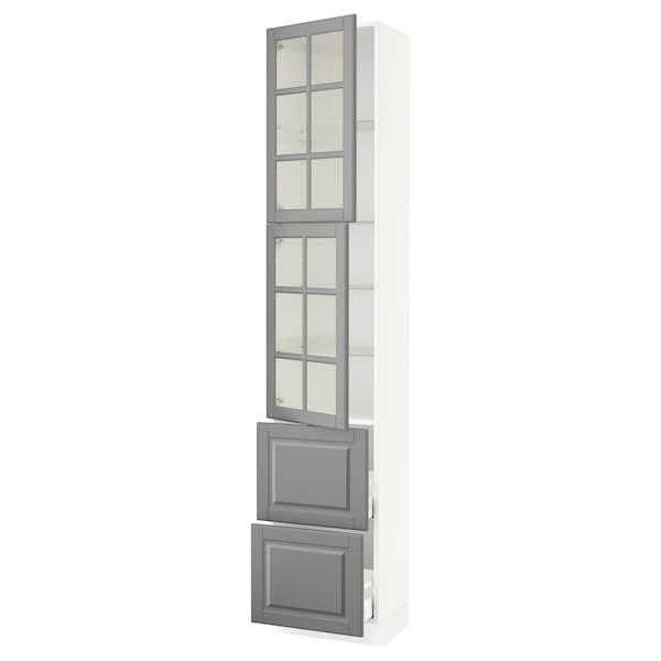 "SEKTION / MAXIMERA High cb w 2 glass drs/2 drawers, white/Bodbyn gray, 18x15x90 """