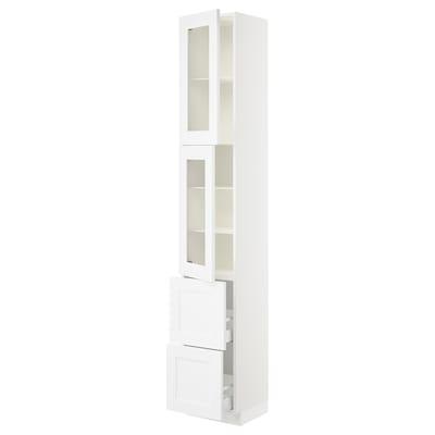 "SEKTION / MAXIMERA high cb w 2 glass drs/2 drawers white/Axstad matt white 15 "" 15 "" 15 1/2 "" 90 """