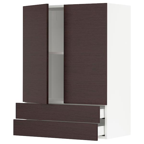 "SEKTION / MAXIMERA Wall cabinet w/2 doors+2 drawers, white Askersund/dark brown ash effect, 30x15x40 """
