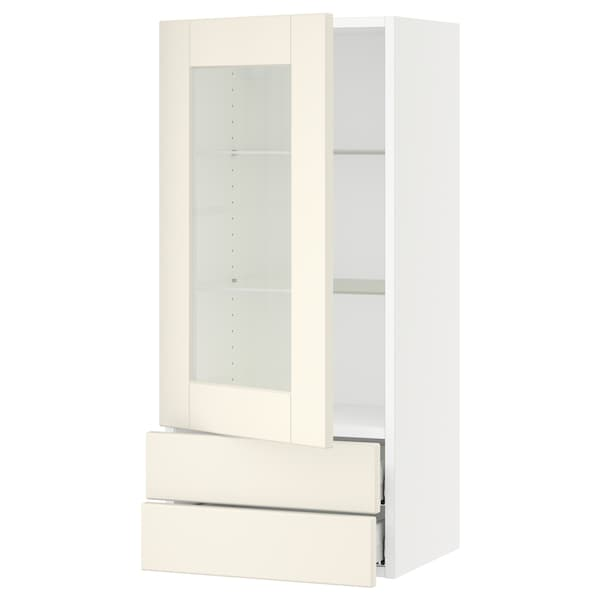 SEKTION / MAXIMERA Wall cabinet w glass door/2 drawers, white/Grimslöv off-white, 18x15x40 ""
