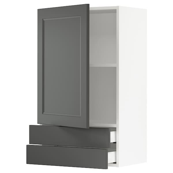 "SEKTION / MAXIMERA wall cabinet with door & 2 drawers white/Axstad dark gray 24 "" 15 1/2 "" 15 "" 40 """