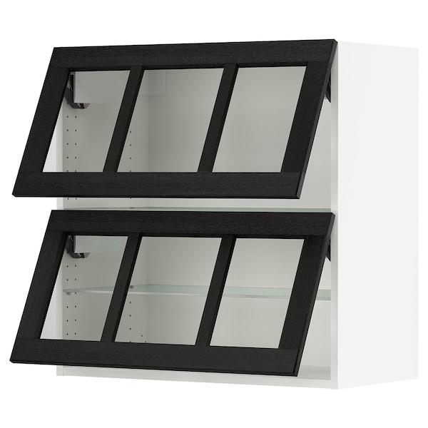 "SEKTION Wall cab horiz 2 gls drs w push-op, white/Lerhyttan black stained, 30x15x30 """