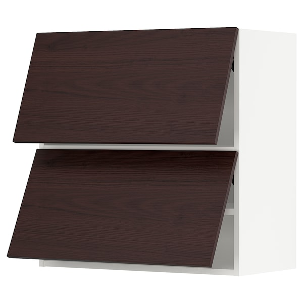 SEKTION Wall cab horizo 2 doors w push-open, white Askersund/dark brown ash effect, 30x15x30 ""