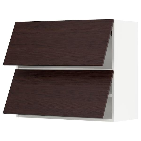 "SEKTION Wall cab horizo 2 doors w push-open, white Askersund/dark brown ash effect, 36x15x30 """
