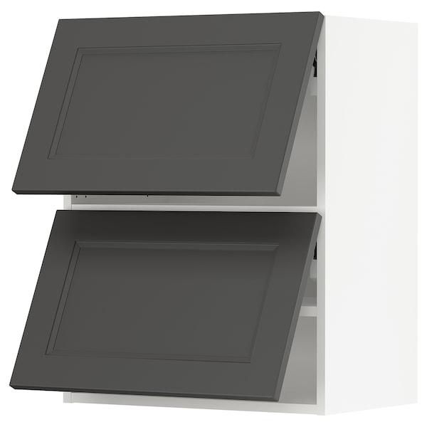 """SEKTION Wall cab horizo 2 doors w push-open, white/Axstad dark gray, 24x15x30 """""""