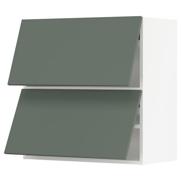 "SEKTION Wall cab horizo 2 doors w push-open, white/Bodarp gray-green, 30x15x30 """