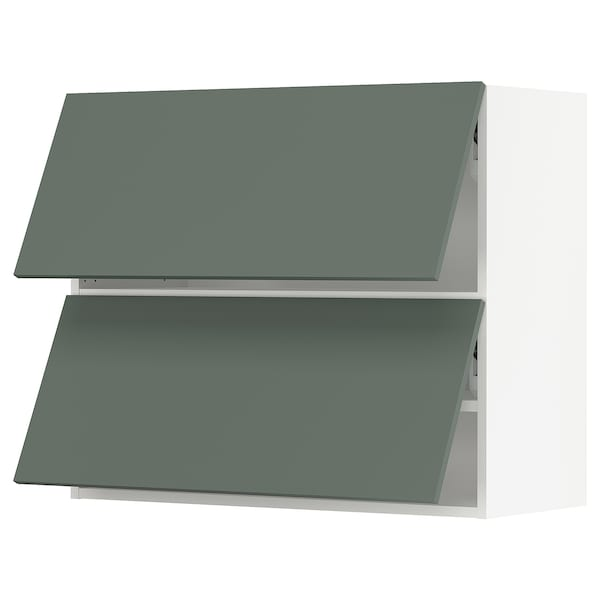 "SEKTION Wall cab horizo 2 doors w push-open, white/Bodarp gray-green, 36x15x30 """