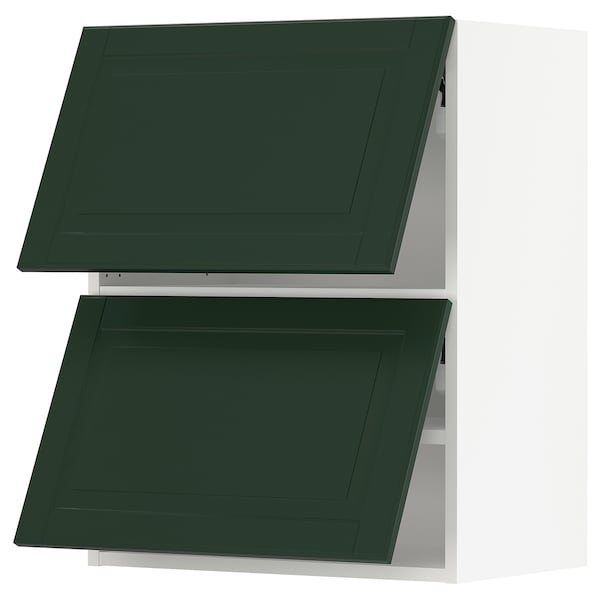 SEKTION Wall cab horizo 2 doors w push-open, white/Bodbyn dark green, 24x15x30 ""