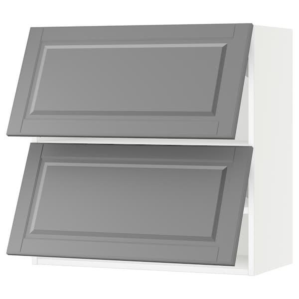 "SEKTION Wall cab horizo 2 doors w push-open, white/Bodbyn gray, 30x15x30 """