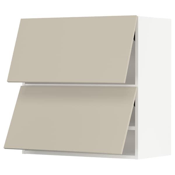 "SEKTION Wall cab horizo 2 doors w push-open, white/Havstorp beige, 30x15x30 """