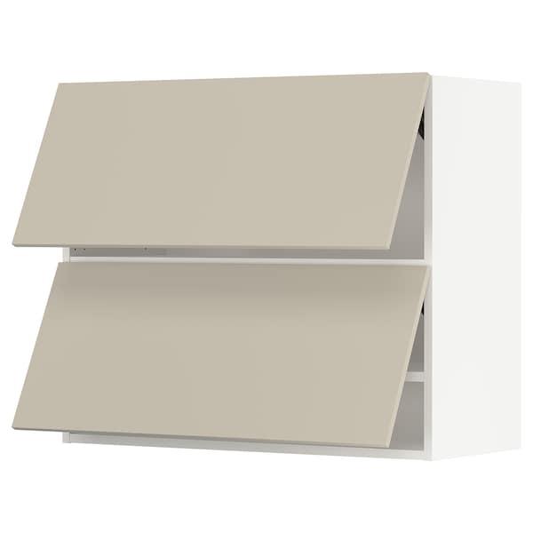 "SEKTION Wall cab horizo 2 doors w push-open, white/Havstorp beige, 36x15x30 """