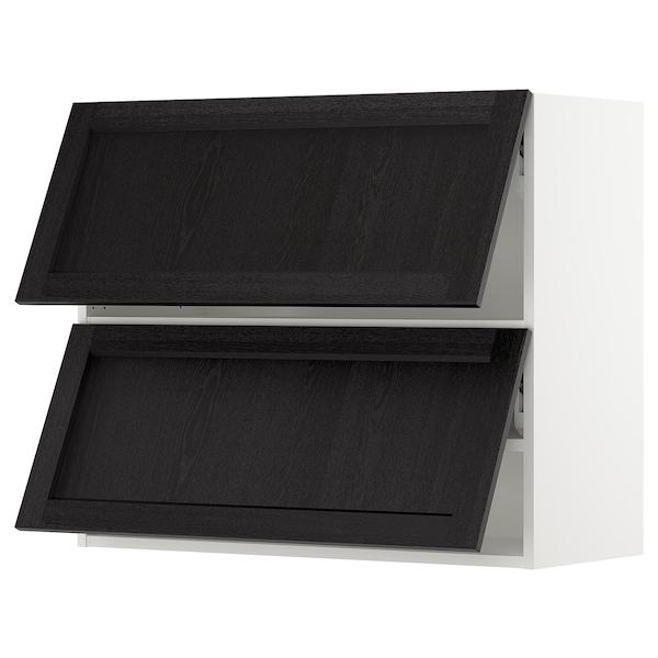 "SEKTION Wall cab horizo 2 doors w push-open, white/Lerhyttan black stained, 36x15x30 """