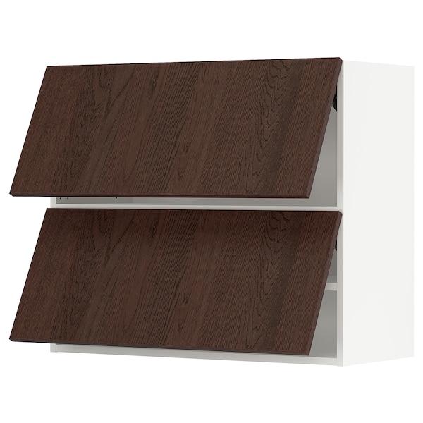 "SEKTION Wall cab horizo 2 doors w push-open, white/Sinarp brown, 36x15x30 """