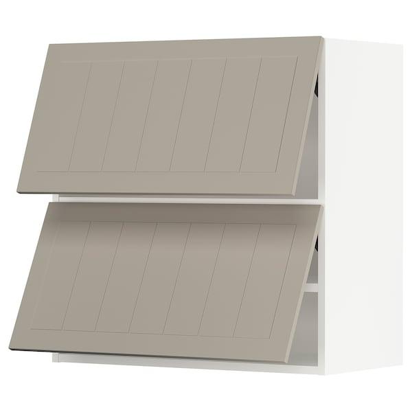 "SEKTION Wall cab horizo 2 doors w push-open, white/Stensund beige, 30x15x30 """