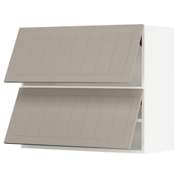 "SEKTION Wall cab horizo 2 doors w push-open, white/Stensund beige, 36x15x30 """