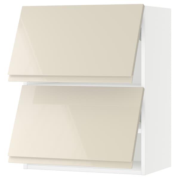 "SEKTION Wall cab horizo 2 doors w push-open, white/Voxtorp high-gloss light beige, 24x15x30 """