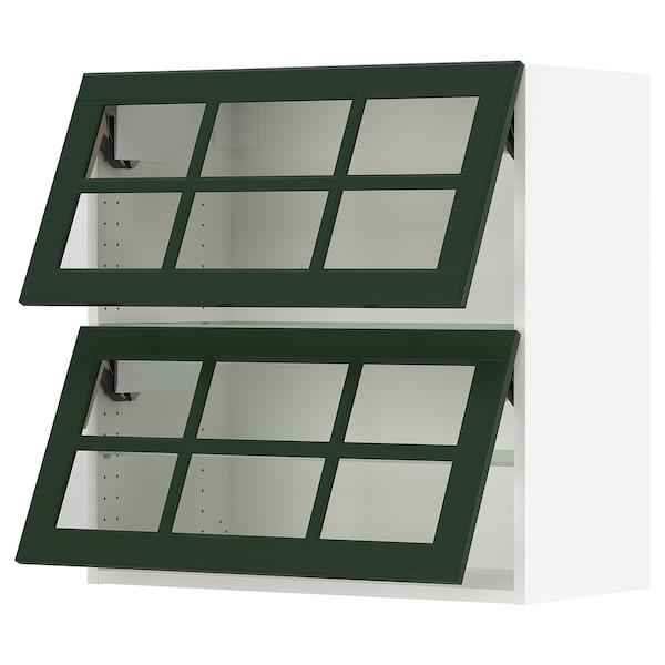 "SEKTION Wall cab horizontal w 2 glass doors, white/Bodbyn dark green, 30x15x30 """