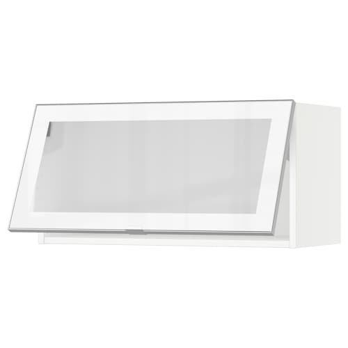 "SEKTION horizontal wall cabinet/glass door white/Jutis frosted glass 30 "" 15 "" 15 1/2 "" 15 """