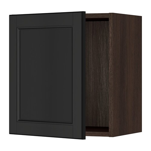 Ikea Kitchen Wood Cabinets: Wood Effect Brown, Laxarby Black