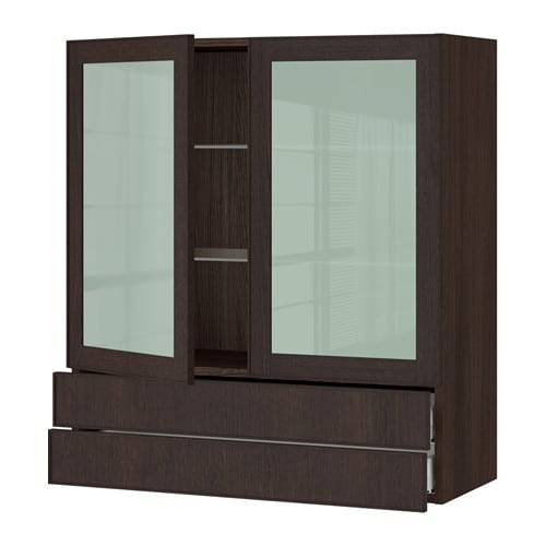 ikea cabinet fronts sektion wall cabinet 2 glass doors 2drawers wood effect 17558