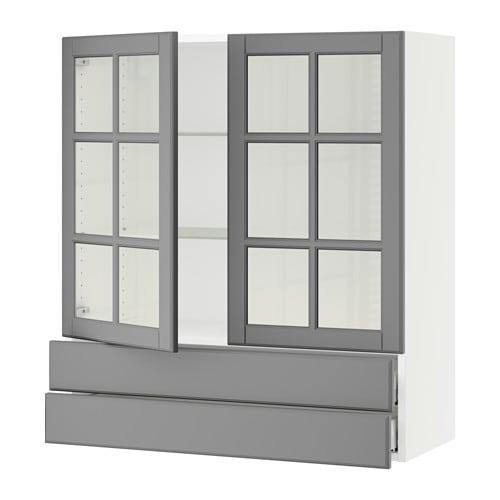 Sektion Wall Cabinet 2 Glass Doors 2drawers Bodbyn Gray 36x15x40