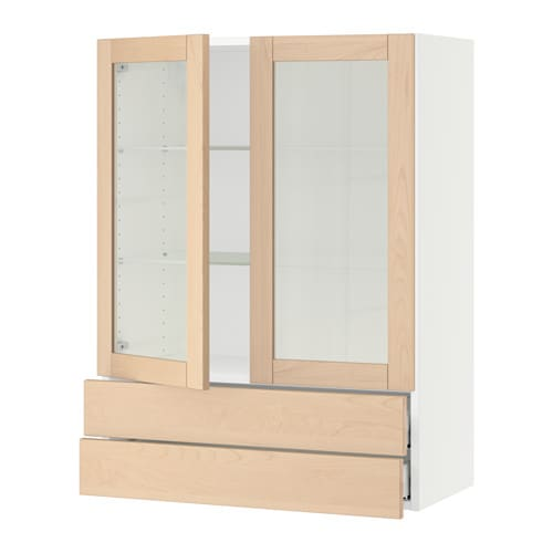 Sektion wall cabinet 2 glass doors 2drawers white for Ikea glass door wall cabinet